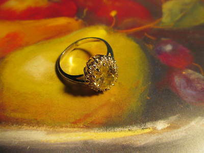 New yellow clear gems rhinestone silver filled cocktail ring sz. 8 pretty!