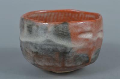 M9229: Japanese Raku-ware Red glaze TEA BOWL Green tea tool Tea Ceremony