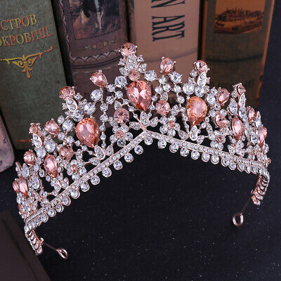 6cm High 5 Colors Drip Crystal Wedding Bridal Party Pageant Prom Tiara Crown