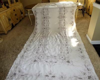 """Divine Hand Embroidery Needlelace  Reticella Lace 170"""" Banquet Linen Tablecloth"""