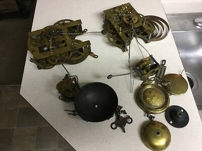 Lot Of 2 Antique Clock Movement And Parts Terry Clock Co. Steampunk Art