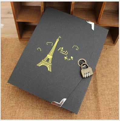 30Pages Paris Tower Black Book Journal Diary Notebook DIY Album + Password Lock