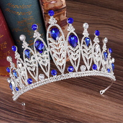 9cm High 4 Colors Drip Crystal Wedding Bridal Party Pageant Prom Tiara Crown