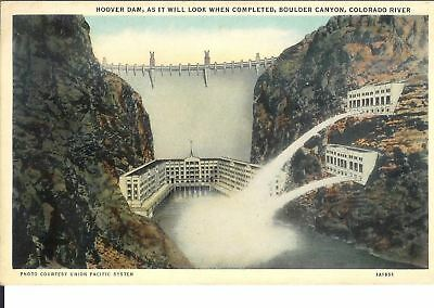 Vintage Postcard Hoover Dam as it will look when completed Boulder Canyon