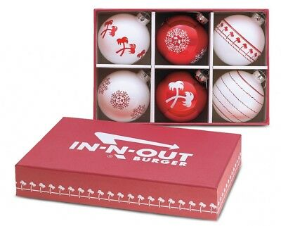 In-N-Out Burger Christmas Ornaments.  Gift Box included.  6 total ornaments