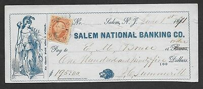 R15 on 1871 Salem, NY National Banking Co. Check with Lady Liberty vignette