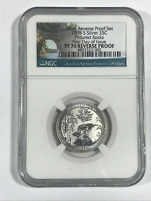 2018 S Silver ATB NGC PF70 REVERSE PROOF Pictured Rocks Quarter First Day Issue