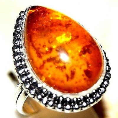 5.10 g Orange Color Amber Ladies Ring Size Us 7 Silver Plated Handmade Jewelry