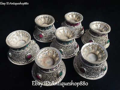 Chinese Old Silver Filigree Turquoise Coral Gem Ancient Cann Cup Cups Set Statue