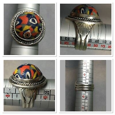 Roman Mosaic glass  handmade pure silver ring