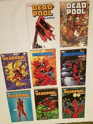 Deadpool Classic TPB Lot Vol. 1 - 6, 8, & 9  Issues #1-45, #57-69 VG to EX cond