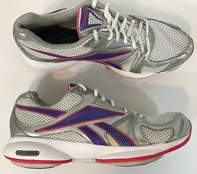 Reebok Easy Tone Womens Walking Shoes Size 9.5 Metallic Silver Pink  Excellent cb54068b3
