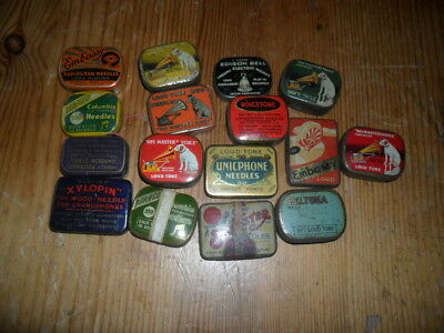 16 Gramophone Phonograph needle tins  with some needles