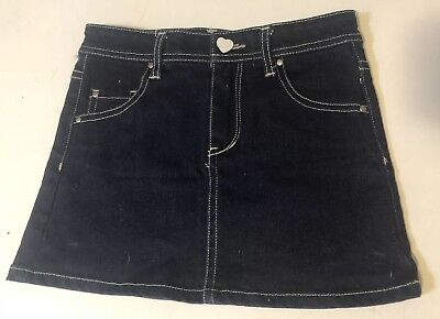 David Jones Junior Kids Girls Size 6-7 Dark Blue Denim Skirt Casual Stretch EUC