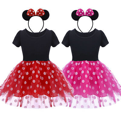 Toddler Baby Girl Minnie Mouse Polka Dot Tutu Dress Fancy Cosplay Costume Outfit