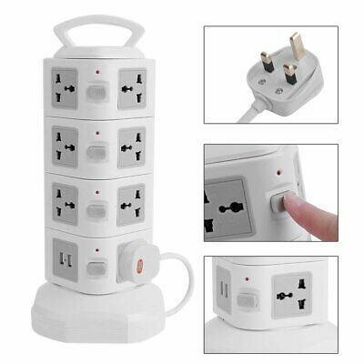 Tower Vertical Socket 15 Way+2 USB Overload Protected 2M Extension Lead 7Gang