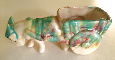 Vintage Ceramic Donkey and Cart Planter 1950's - Made in Italy Drip Glaze