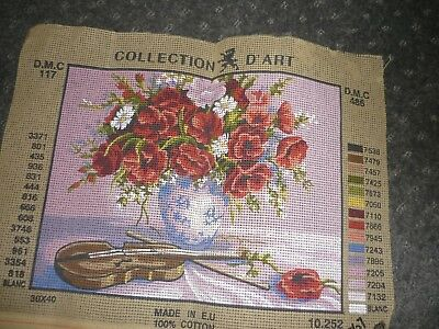 "Collection D'art - ""flowers In Vase"" - Tapestry Canvas - New"