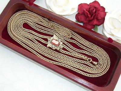 Antique Victorian 10K Rose Gold Gf Watch Chain Necklace & Gold Cameo Pearl Slide