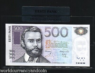 Estonia 500 Krooni P89 B 2007 Euro Barn Swallow Unc Money Note Holder / Folder