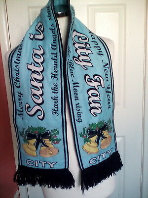 "Manchester City ""Santa is a City fan"" Scarf  full size."