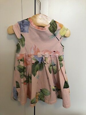 ted baker baby girl 3-6 months Pink Floral Dress Short Sleeve.