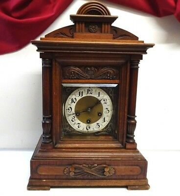 Antique Large Junghans Westminster 8 Day Walnut Bracket Clock B07 Movement
