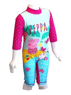 Girls Uv Sun Suit Swim Upf 40+ Peppa Pig Swimming Costume 9 To 24 Mnths