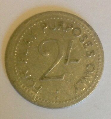 'For Play Purposes Only' 2/- Token, FREE POSTAGE...Rare And Collectable!!!!!!!!!