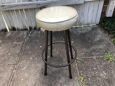Vintage Retro Light grey vinyl stool display decor metal kitchen bar breakfast
