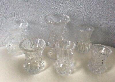 Lot X 6 VINTAGE Crystal Glass VASES Small Bud Posy Wedding Florist Shabby Chic