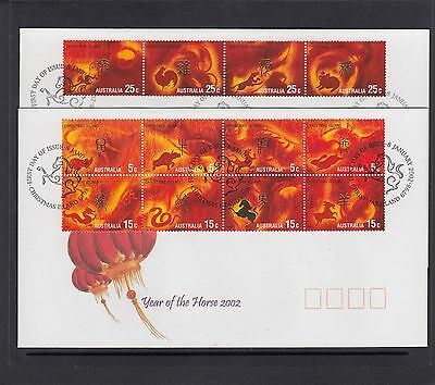 CHRISTMAS IS  2002  Year of the HORSE Zodiac set of 12  on 2 FDCs.