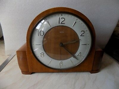 Small Vintage Smiths Floating Ballance 1950 8 Day Striking Clock In Full Working