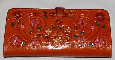 Vintage 60s Hippie Tooled Brown Leather Wallet Pink Red Flowers Rectangle Mirror
