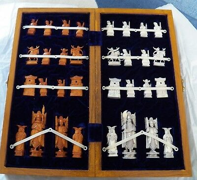Antik Chinesische Bein Schachspiel Antique Bone Bovine Chinese Chess  Set