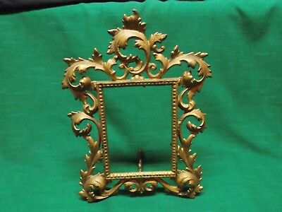 """Vintage ornate cast iron brass easel picture frame. Rococo. 10"""" tall."""