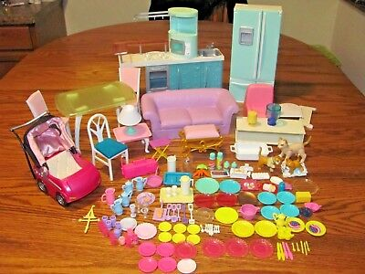 Vintage Lot Of 138 Pcs Of Barbie Furniture Accessories Food Pets & Much More