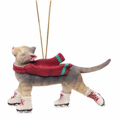 Paris Bottman WINTER BLISS Ice Skating Cat Grey Beige Tabby Kitten NEW Ornament