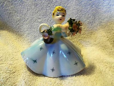 VINTAGE ~ YOUNG GIRL carrying  FLOWERS FIGURINE
