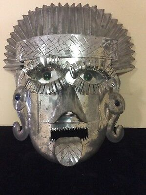 Vintage tin decorative mask wall hanging decor aztec style