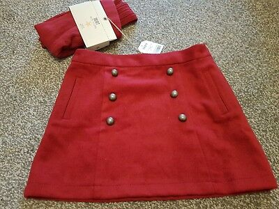 NEXT Girls red winter skirt and tights set. Age 10 - BNWT