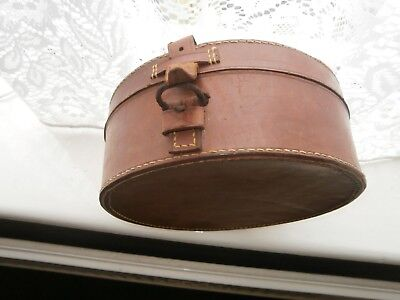 Vintage Leather Brown Collar Box With Collars & Bow Tie