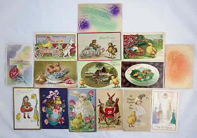 Lot of 15 Vintage Easter Postcards Rabbits Children Chicks Religious