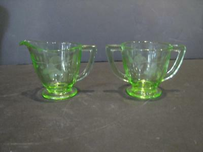 Vintage Green Depression Glass FLORAL ETCHED Creamer Sugar Bowl Uranium Glows