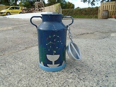 Vintage French Painted Milk Churn & Lid Umbrella Stick Stand Planter Barge Ware