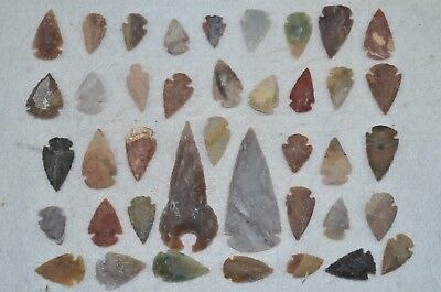 "40 PC Flint Arrowhead Ohio Collection Points 2-3"" Spear Bow Knife Hunting Blade"