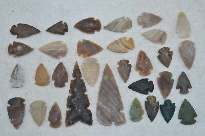 "31 PC Flint Arrowhead Ohio Collection Points 2-3"" Spear Bow Knife Hunting Blade"