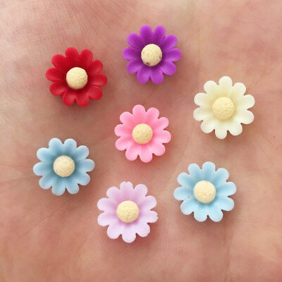 New 80pcs 12mm Resin solid color 3D Flower FlatBack Stone buttons Wedding crafts