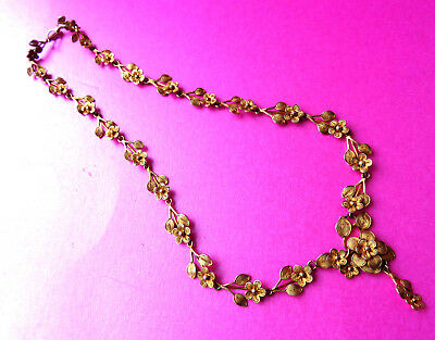 Antique Lovely Tested Silver/gold Wash,forget Me Nots Articulated Necklace.