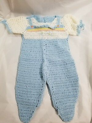 Vintage HANDMADE Baby Girl One-Piece Outfit Knitted/Crochet Blue White